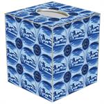 TB1422- Blue Delft Dog Tissue Box Cover