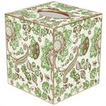 TB1428-Floral Paisley Green & Brown Tissue Box Cover