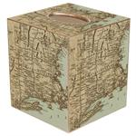 TB1480-Antique Northeast Map Tissue Box Cover
