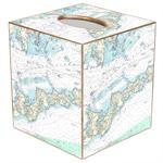 TB1490-Fishers Island Nautical Chart Map Tissue Box Cover