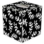 TB1524-White Berry on Black Tissue Box Cover