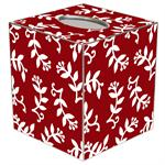TB1533-White Berry on Red Tissue Box Cover
