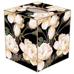 TB1548-White Roses on Black Tissue Box Cover