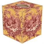 TB16-Red and Yellow Toile Tissue Box Cover