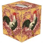 TB169-RR Rooster on Red and Gold Toile Tissue Box Cover