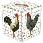 TB169 - Roosters On Script Tissue Box Cover