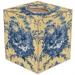 TB17-Blue and Yellow Toile Tissue Box Cover