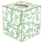 TB1758- Green Bunny Toile Tissue Box Cover