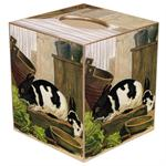 TB189-Black and White Bunny Tissue Box Cover