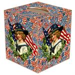 TB191-Fourth of July Girl with Flag Tissue Box Cover