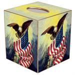 TB196-Eagle with American Flag Tissue Box Cover