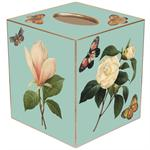 TB1-Aqua Floral Tissue Box Cover