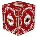 TB213-Bees on Red Provencial Tissue Box Cover