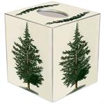 TB2527 - Antique Christmas Tree Winter White Tissue Box Cover