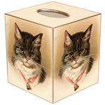 TB2614 - Tabby Cat with Bell Tissue Box Cover
