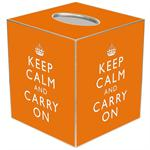TB2632 - Orange Keep Calm and Carry On Tissue Box Cover