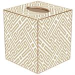 TB2653 - Tan & White Fret Pattern Tissue Box Cover