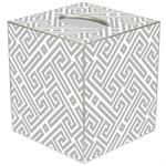 TB2654 - Grey & White Fret Pattern Tissue Box Cover