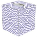 TB2657 - Lavender & White Fret Pattern Tissue Box Cover
