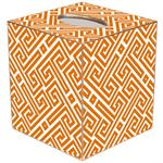 TB2658 - Orange & White Fret Pattern Tissue Box Cover