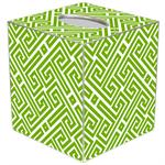 TB2678 - Lime & White Fret Pattern Tissue Box Cover