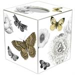 TB2711 - Black and White Flowers Butterflies Tissue Box Cover