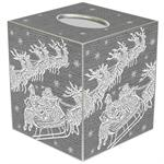TB2788- Santa  & Reindeer SilverTissue Box Cover