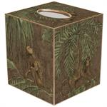 TB286-Monkeys and Palms on Brown Tissue Box Cover