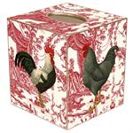 TB288-Roosters on Red Toile Tissue Box Cover