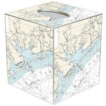 TB2896-Matagorda Texas Nautical Chart Tissue Box Cover
