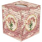 TB296 - Pink Lillies on Rose Toile Tissue Box Cover