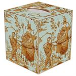 TB299 - Aqua Asian Toile Tissue Box Cover