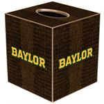TB3100-Gold Baylor on Brown Crock Tissue Box Cover