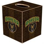 TB3101-Baylor with Bear Head on Brown Crock Tissue Box Cover