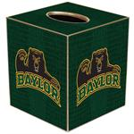 TB3109-Baylor with Bear on Green Crock Tissue Box Cover
