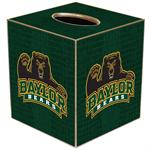 TB3110-Baylor Bears with Bear on Green Crock Tissue Box Cover