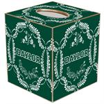 TB3114-White Baylor  on Green Provencial Tissue Box Cover
