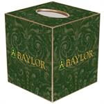 TB3121-Gold Baylor on Green Crock Tissue Box Cover