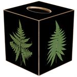 TB333 - Fern Leaves on Black Tissue Box Cover