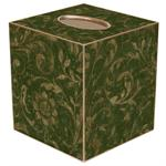 TB334-Green Damask Tissue Box Cover