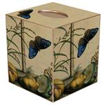 TB345 - Brown & Blue Butterfly Tissue Box Cover