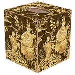 TB346-Brown & Gold Asian Toile Tissue Box Cover