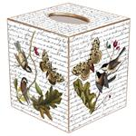 TB350 - Birds and Butterflies on Writing Tissue Box Cover