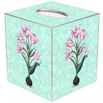 TB378 - Tulips on Aqua Damask Tissue Box Cover
