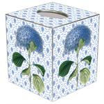 TB396-Blue Hydrangea on Blue Provencial Print Tissue Box Cover