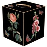 TB3-Black-Pink Hydrangea, Rose, Hollyhock and Hyacinth Tissue Box Cover