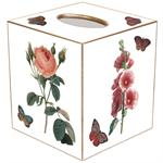TB3-White-Pink Hydrangea, Rose, Hollyhock & Hyacinth Tissue Box Cover