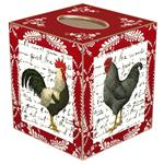 TB510-Roosters on Red Provencial Tissue Box Cover