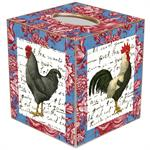 TB511-Roosters on Pink & Blue Toile Tissue Box Cover