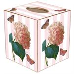 TB542-Pink Hydrangea on Pink Stripe Tissue Box Cover
